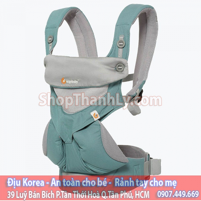 1032 - ErgoBaby 360 Baby Carrier All Carry Positions: Cool Air Mesh - Icy Mint